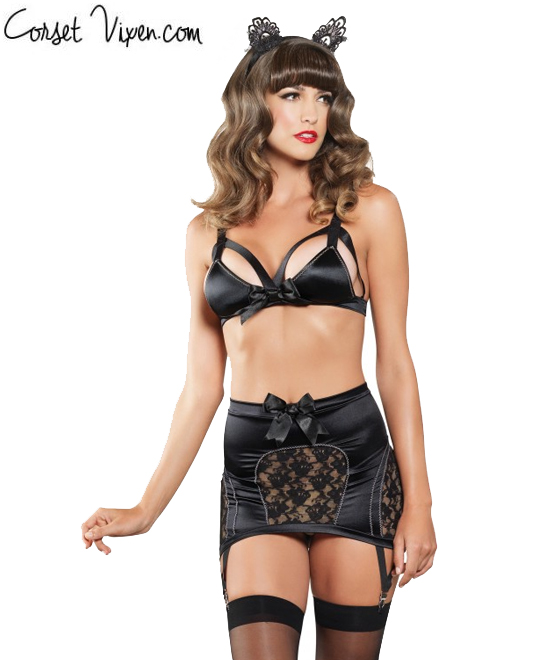 3 PC. Black Bra and Garter Skirt Set