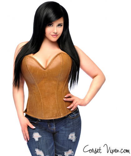 Camel Distressed Faux Leather Corset