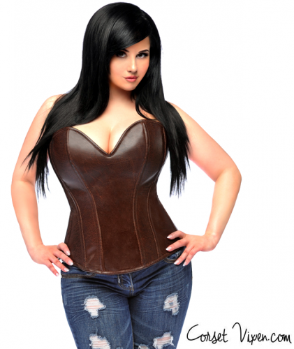 Dark Brown Distressed Faux Leather Corset