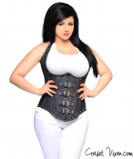 Denim Steel Boned Underbust Corset with Buckles