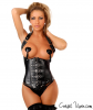 Faux Black Leather Underbust Corset with Buckles