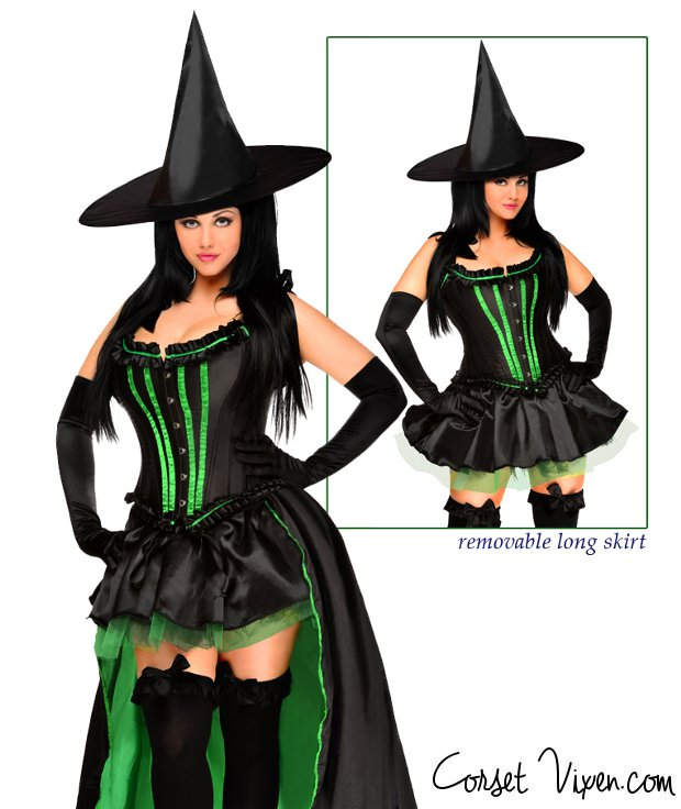 green hocus witch corset costume - Corsets Halloween Costumes