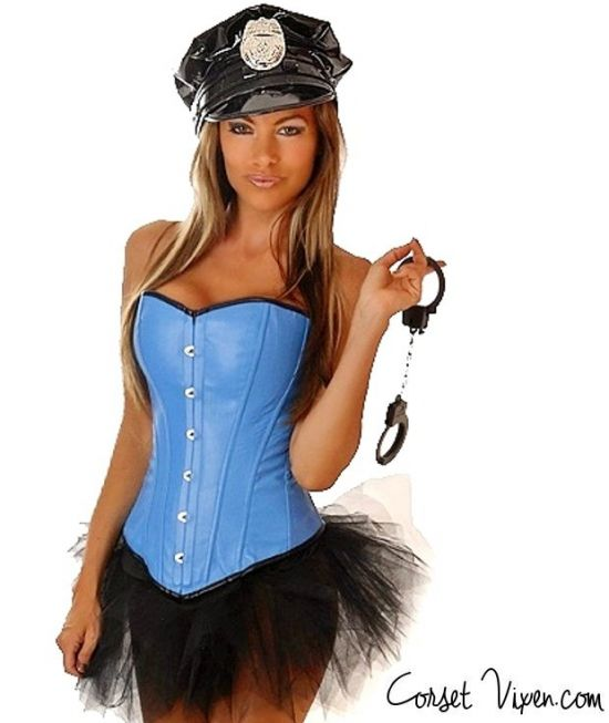 Pin-up Style Light Blue Cop Costume