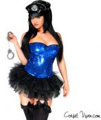 Pin-up Style Sequin Cop Corset Costume