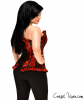 Red Lace Steel Boned Corset