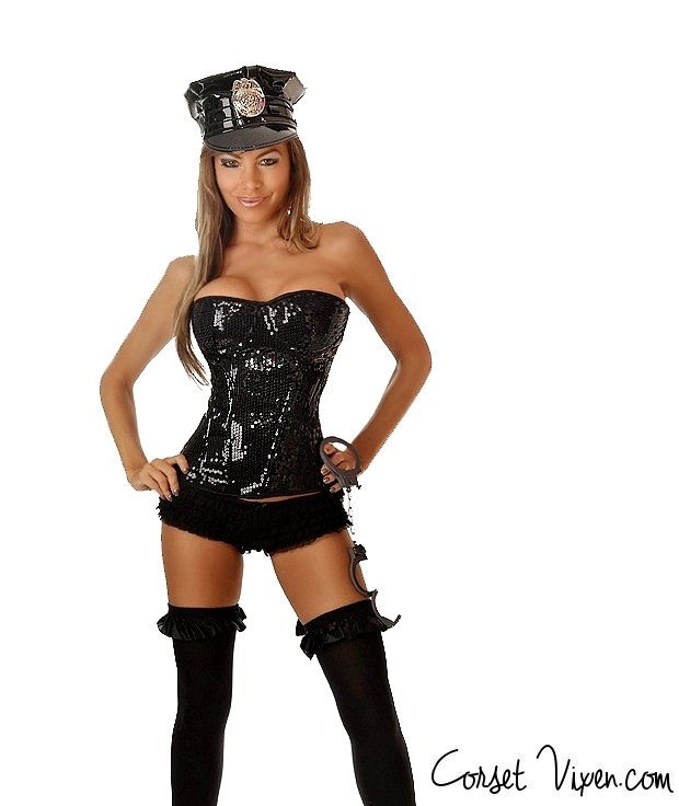 Sequence Police Officer Corset Costume  sc 1 st  Corset Vixen & Sequence Police Corset Costume | Halloween Costumes: Corsetvixen.com