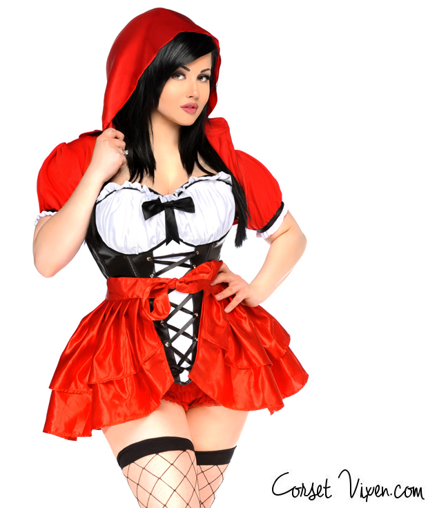 Sexy 3 Piece Plus Size Red Riding Hood Costume