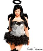 Silver Sequin Dark Angel Corset Costume