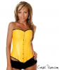 Strapless Fashion Yellow Faux Leather Corset