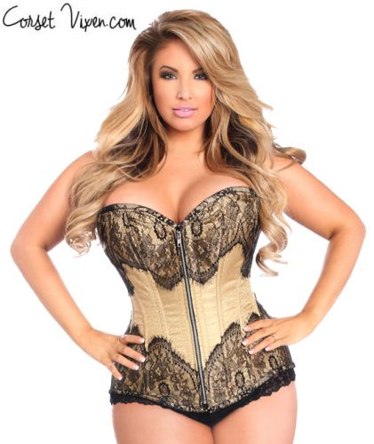 Black Lace Tan Brocade Corset