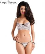 Black Nude Lace Bra and Ruffle Back G-String Set