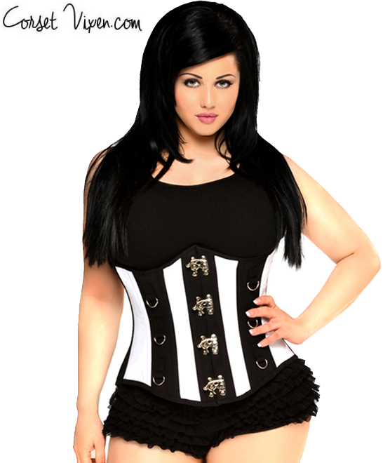Black and White Striped Underbust Corset