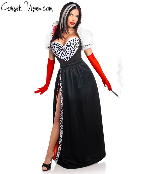 sexy cruella deville costume cruella de vil corset costume. Black Bedroom Furniture Sets. Home Design Ideas