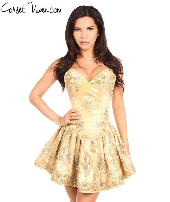 Elegant Gold Embroidered Net Steel Boned Short Corset Dress