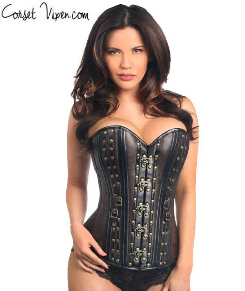 Faux Leather Steel Boned Corset w/Rivets