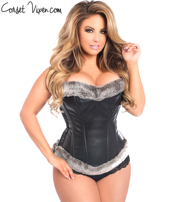 Fur Trimmed Faux Leather Corset