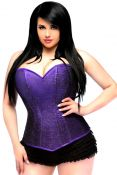 Plus Size Purple Glitter Side Zipper Corset
