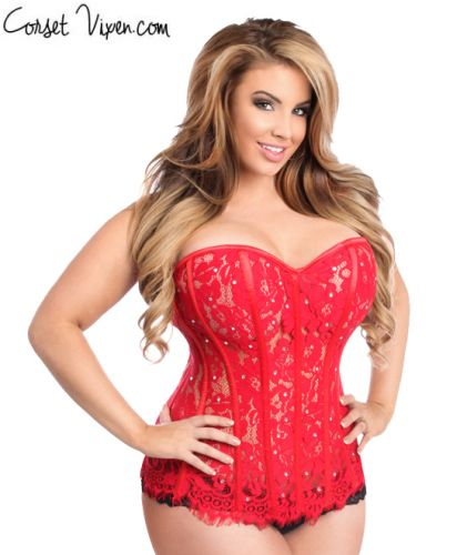 Red Lace Steel Boned Rhinestone Corset