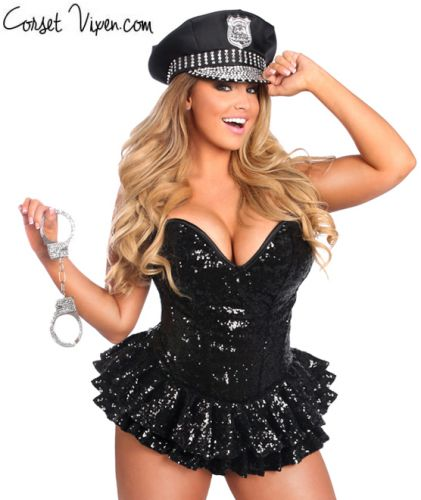 Sexy Cop Corset Dress Costume
