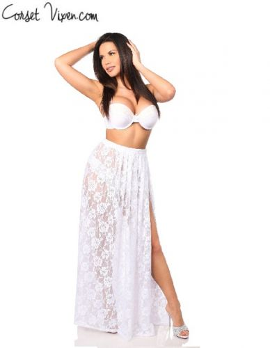 Sexy Sheer White Lace Skirt