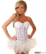 Strapless White Lace Corset & Petti-Skirt