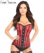 Sheer Red Lace Steel Boned Corset
