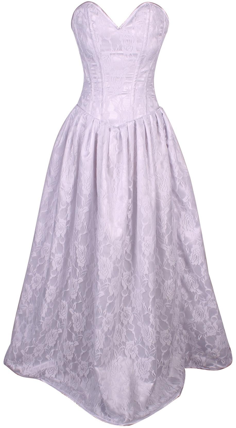 Top drawer white floral lace steel boned long corset dress for Steel boned corset wedding dress