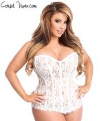 White Lace Steel Boned Rhinestone Corset