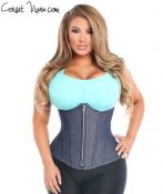 Zipper Denim Blue Steel Boned Underbust Corset
