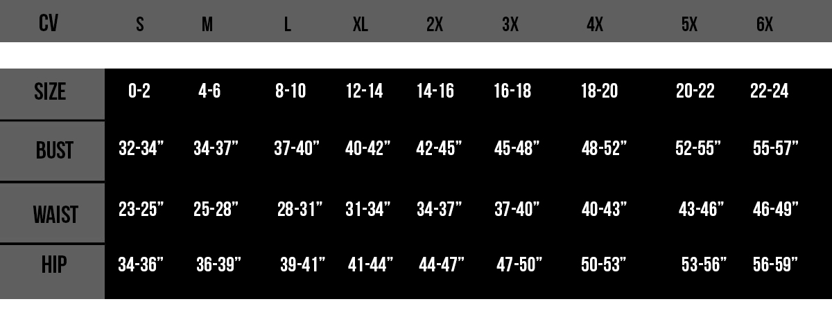 Top Drawer Corset Sizing Chart