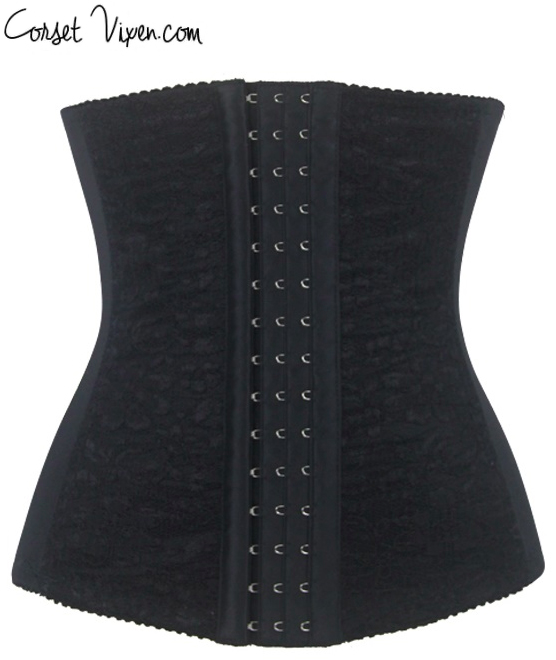 Steel Boned Waist Training Corset (Color: B T: Black)