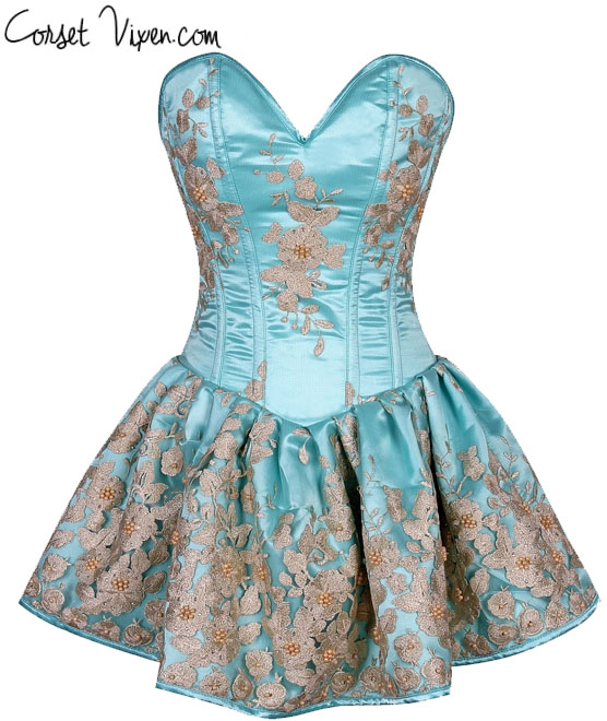 Elegant Floral Embroidered Steel Boned Short Corset Dress (Color: Aqua)
