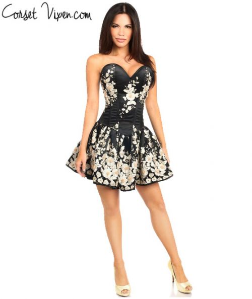 Elegant Floral Embroidered Steel Boned Short Corset Dress (Color: Black)