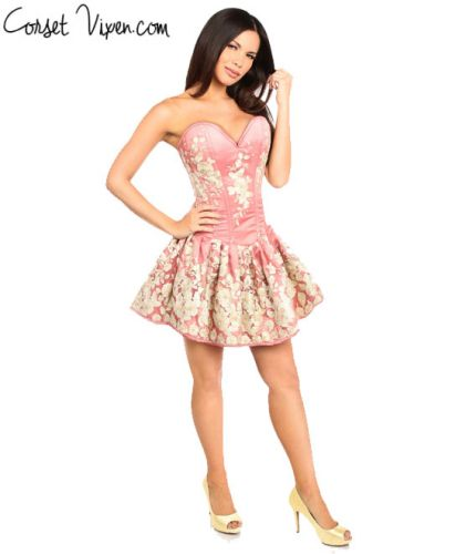 Elegant Floral Embroidered Steel Boned Short Corset Dress (Color: Coral)