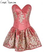 Elegant Floral Embroidered Steel Boned Short Corset Dress