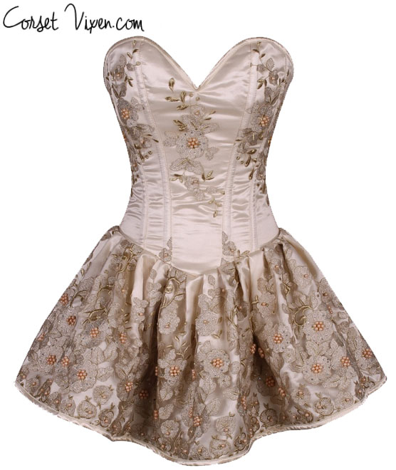 Elegant Floral Embroidered Steel Boned Short Corset Dress (Color: Ivory)