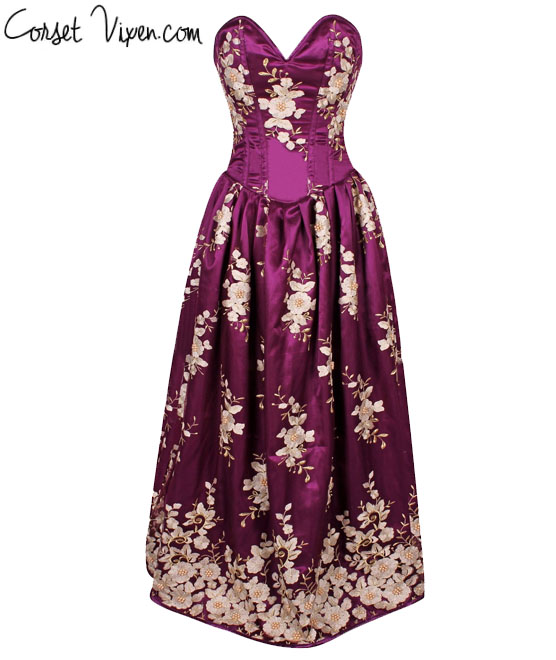 Floral Steel Boned Long Corset Dress (Color: Plum)