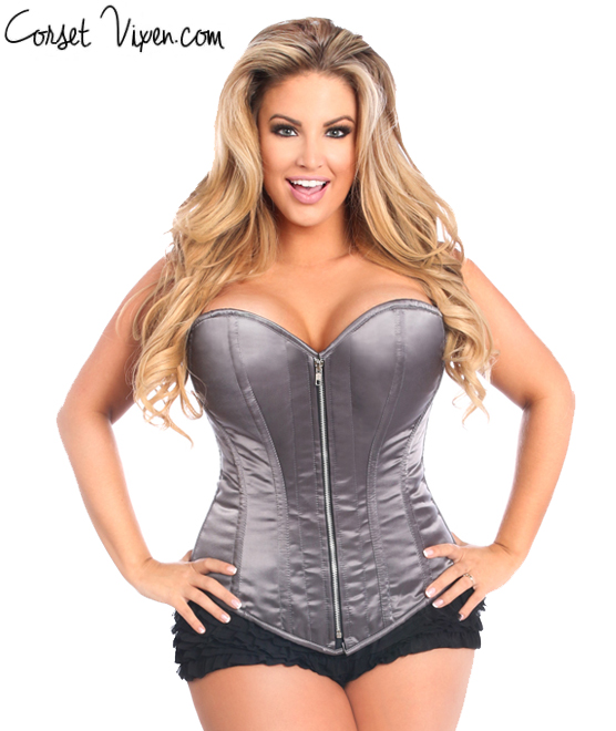 Satin Steel Boned Corset (Color: M P G B: Metal)