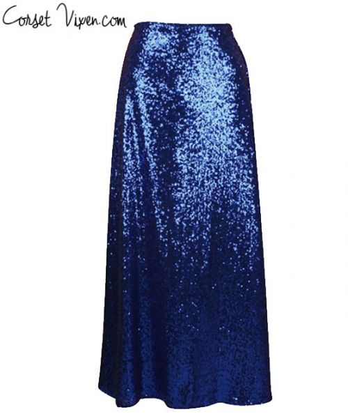 Long Sequin Skirt (Color: Royal Blue)