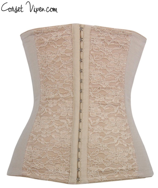 Steel Boned Waist Training Corset (Color: B T: Tan)